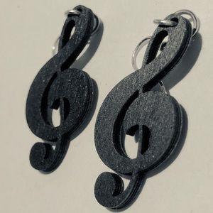 Elegant Black Wooden Treble Clef Music Earrings
